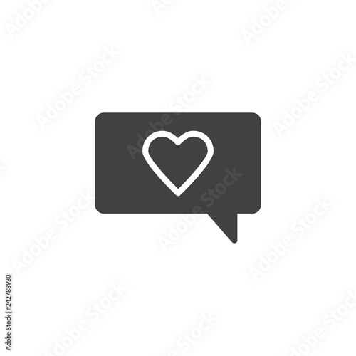 Romantic chat message vector icon. filled flat sign for mobile concept and web design. Speech bubble with heart simple solid icon. Love and valentine day symbol logo illustration. Pixel perfect vector