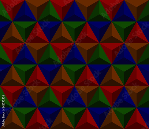 obraz lub plakat dark pyramid. vector seamless pattern with triangles. simple geometric background. visual illusion