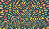 Abstract background with color circles. Chaotic particles in empty space. Dynamic vector illustartion. - 242793523