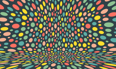 Abstract background with color circles. Chaotic particles in empty space. Dynamic vector illustartion.