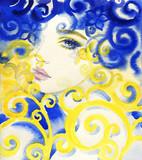 beautiful woman. fashion illustration. watercolor painting - 242796963