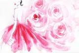 beautiful woman. fashion illustration. watercolor painting - 242797172