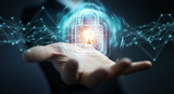 Businessman using digital padlock with data protection 3D rendering - 242804533
