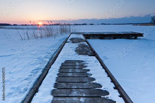 Acrylglas Pier Winter landscape