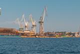 rusty cranes in port of pula, croatia - 242805599