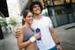Leinwanddruck Bild - Beautiful sporty couple running and jogging outdoor
