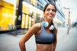 Leinwanddruck Bild - Picture of young attractive happy fitness woman