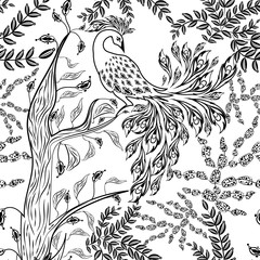 Seamless fairy fantasy garden forest bird sketched pattern © fuzzyfox