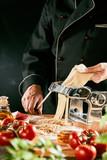 Italian chef preparing homemade pasta noodles