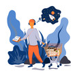 A young man listens to an audiobook and presents a story. A cart full of books. Illustration in flat style