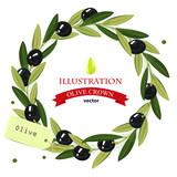 Olive branch wreath. Vector frame.