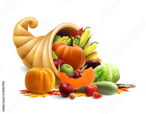 Cornucopia Full Of Vegetables And Fruits - 242827910