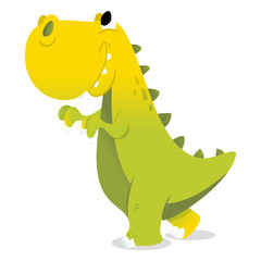 Happy Cartoon Green T-Rex Dinosaur