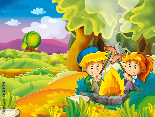 cartoon autumn nature background with kids having fun camping and grilling - illustration for children - 242834903