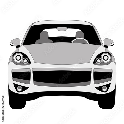 classic   car ,vector illustration, lining draw, front  - 242839706