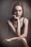 stylized retro woman portrait - 242846769