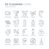 Collection of 20 Cleaning linear icons such as sterilization, States Matter, sanitize, scouring pads, scrub brush, Spray line icons with thin line stroke, vector illustration of trendy icon set. - 242848560