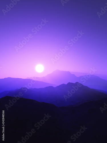 3D mountain landscape at sunset