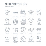 Collection of 20 Dentist linear icons such as Dental care, Brackets, Baby dental, Bacteria in mouth, Bicuspid, Decay line icons with thin line stroke, vector illustration of trendy icon set.
