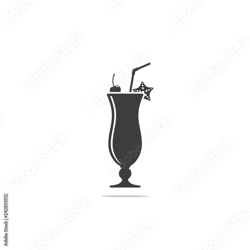 Monochrome vector illustration of cocktail icon with tubule isolated on white background.