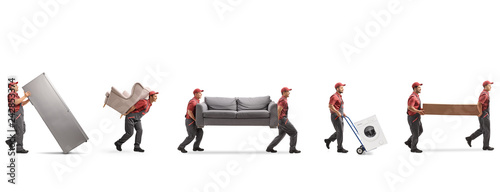 Leinwandbild Motiv Movers carrying furniture and appliences