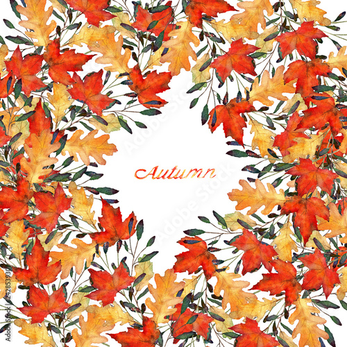 autumn leaves, watercolor, maple and oak leaves, handmade, card for you