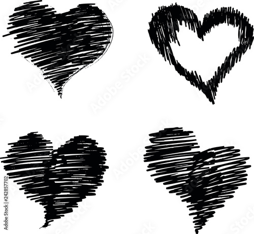 Vector of hearts painted paint