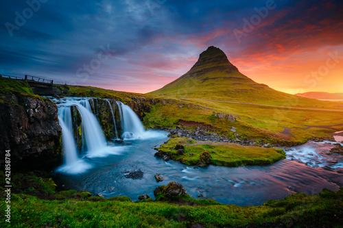 The Kirkjufellsfoss waterfall the coast of Snaefellsnes peninsula. Location Iceland.