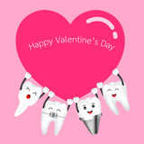 Cute cartoon happy tooth take red heart. Valentine's day concept. Illustration on pink background. - 242861978