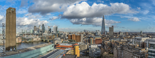 Panoramic cityscape of central London skyline, colour