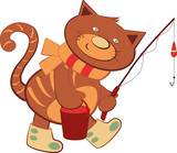 Cheerful cartoon kitten walking with a fishing rod for fishing, illustration for birthday cards for children