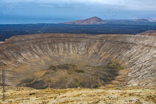 Leinwandbild Motiv Volcanic crater, Timanfaya National Park, Lanzarote, Spain