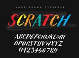 Fototapeta Fototapety dla młodzieży - Scratch vector hand drawn style font, alphabet, typeface, typography. © Vitaly Ilyasov