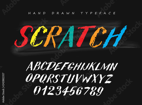 Scratch vector hand drawn style font, alphabet, typeface, typography.