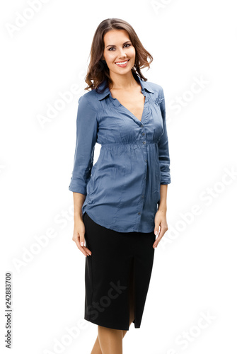 Poster Full body of happy businesswoman, on white