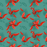 Vector  seamless pattern of tropical  palm leaves, monstera  leaves  and coral flowers of the bird of paradise (Strelitzia) plumeria. Wallpaper trend design. - 242887919