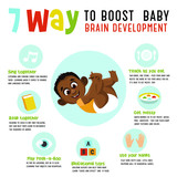 7 way to boost baby brain development.  Vector illustration.