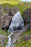 waterfall girlish braids in the natural Park of Elbrus region