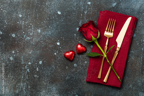 Leinwanddruck Bild Valentine's Day table setting