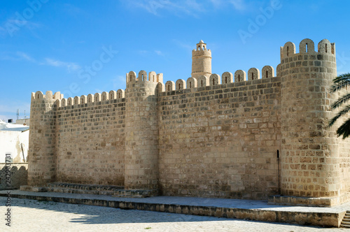 Stone ancient walls of the Medina of Sousse.