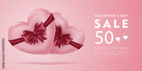 Valentine's day sale offer, banner template. 3d pink heart and red ribbon, Valentines Heart sale tags. Shop market poster design.