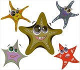 Starfish on a white background. Funny cartoon characters. Emotions - 242910553