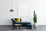 White living room, sofa and poster - 242911717