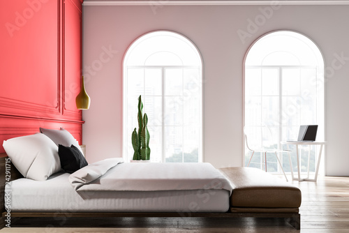 Leinwandbild Motiv Side view of white and red bedroom