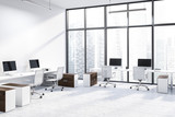White panoramic office corner, wooden tables - 242912779