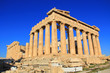 The Parthenon on the Acropolis in Athens, Greece with a beautiful blue sky copy space and no people.