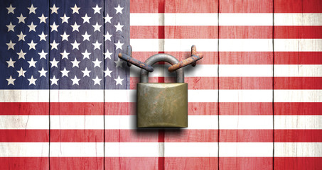 Government shutdown. US flag on wooden door closed with padlock. 3d illustration