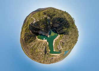 Little Planet of Canyon Viewpoint (Mirante dos Canyons), Capitolio, Minas Gerais, Brazil