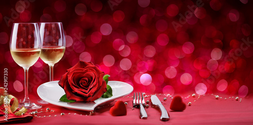 Romantic Dinner - Table Setting For Valentine's Day - 242917330