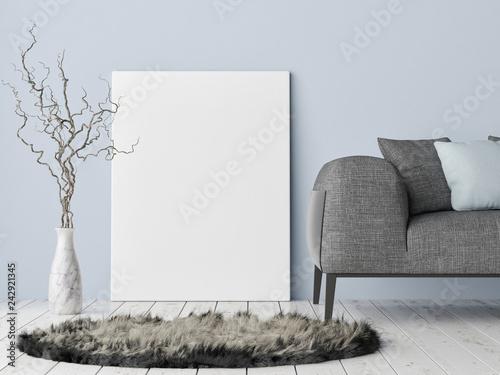 Mock up poster on hipster background, blue wall, decoration and sofa, 3d render, 3d illustration